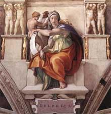 La Sibylle de Delphes. 1509. Fresque de la neuvième section de la voûte, 350 x 380 cm. Chapelle Sixtine, Vatican