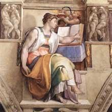 La Sibylle d'Erythrée.1509. Fresque de la septième section de la voûte, 360 x 380 cm. Chapelle Sixtine, Vatican
