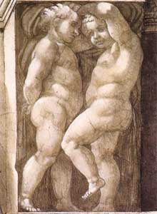 Putti de la Sibylle d'Erythrée.1509. Fresque de la septième section de la voûte, 360 x 380 cm. Chapelle Sixtine, Vatican