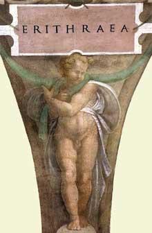 Personnage soutenant la plaque de la Sibylle d'Erythrée.1509. Fresque de la septième section de la voûte, 360 x 380 cm. Chapelle Sixtine, Vatican