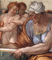 La Sibylle de Cumes. 1510. Fresque de la cinquième section de la voûte, 375 x 380 cm. Chapelle Sixtine, Vatican