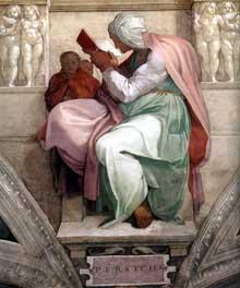 La Sibylle de Perse. 1511. Fresque de la troisième section de la voûte, 400 x 380 cm. Chapelle Sixtine, Vatican