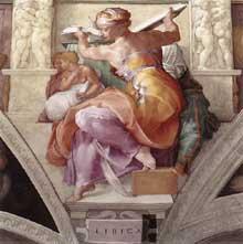 La Sibylle de Libye. 1511. Fresque de la première section de la voûte, 395 x 380 cm. Chapelle Sixtine, Vatican