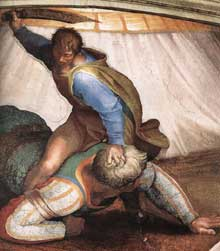 David et Goliath. Pendentif coté entrée. 1509. Fresque, 570 x 970 cm. Chapelle Sixtine, Vatican