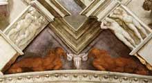 David et Goliath. Détail: nus de bronze. Pendentif coté entrée. 1509. Fresque, 570 x 970 cm. Chapelle Sixtine, Vatica