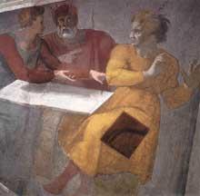 Le châtiment d'Aman. Pendentif côté autel. 1511. Fresque, 585 x 985 cm. Chapelle Sixtine, Vatican