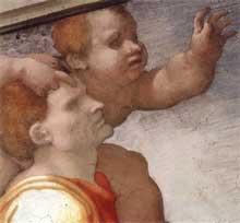 Le serpent d'airain. Pendentif côté autel. 1511. Fresque, 585 x 985 cm. Chapelle Sixtine, Vatican