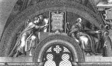Lunette perdue: les ancêtres du Christ: Abraham, Isaac, Jacob, Juda. 1511-1512. D'après une gravure. Chapelle Sixtine, Vatican