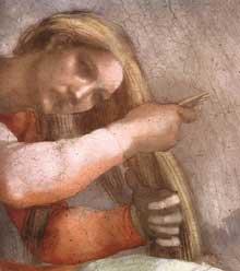 Lunette: les ancêtres du Christ: Aminadab. 1511-1512. Fresque, 215 x 430 cm. Chapelle Sixtine, Vatican