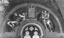 Lunette perdue: les ancêtres du Christ: Pharès, Esrom, Aram. 1511-1512. Gravure. Chapelle Sixtine, Vatican