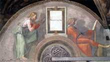 Lunette: les ancêtres du Christ: Naasson. 1511-1512. Fresque, 215 x 430 cm. Chapelle Sixtine, Vatican