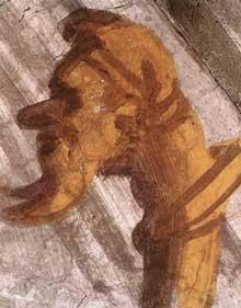 Lunette: les ancêtres du Christ: Salmon, Booz, Jobed. 1511-1512. Fresque, 215 x 430 cm. Chapelle Sixtine, Vatican
