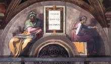 Lunette: les ancêtres du Christ: Jessé, David, Salomon. 1511-1512. Fresque, 215 x 430 cm. Chapelle Sixtine, Vatican