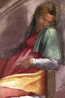 Lunette: les ancêtres du Christ: Roboam, Abia. 1511-1512. Fresque, 215 x 430 cm. Chapelle Sixtine, Vatican