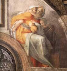 Lunette: les ancêtres du Christ: Asa, Joshaphat, Joram. 1511-1512. Fresque, 215 x 430 cm. Chapelle Sixtine, Vatican