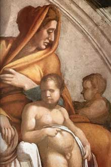 Lunette: les ancêtres du Christ: Ozias, Joatham, Achaz. 1511-1512. Fresque, 215 x 430 cm. Chapelle Sixtine, Vatican