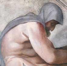 Lunette: les ancêtres du Christ: Ezéchias, Manassé, Amon. 1511-1512. Fresque, 215 x 430 cm. Chapelle Sixtine, Vatican