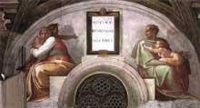 Lunette: les ancêtres du Christ: Josias, Jéchonias, Salathiel. 1511-1512. Fresque, 215 x 430 cm. Chapelle Sixtine, Vatican
