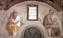 Lunette: les ancêtres du Christ: Zorobabel, Abiud. 1511-1512. Fresque, 215 x 430 cm. Chapelle Sixtine, Vatican