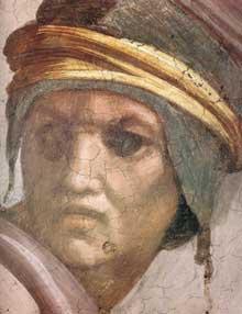 Lunette: les ancêtres du Christ: Zorobabel, Abioud. 1511-1512. Fresque, 215 x 430 cm. Chapelle Sixtine, Vatican