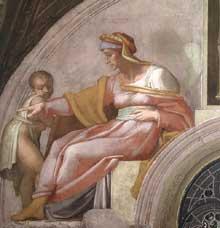 Lunette: les ancêtres du Christ: Azor, Sadok. 1511-1512. Fresque, 215 x 430 cm. Chapelle Sixtine, Vatican
