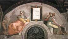 Lunette: les ancêtres du Christ: Akhim, Eliud. 1511-1512. Fresque, 215 x 430 cm. Chapelle Sixtine, Vatican