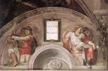Lunette: les ancêtres du Christ: Eléazar, Mathan. 1511-1512. Fresque, 215 x 430 cm. Chapelle Sixtine, Vatican