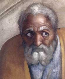 Lunette: les ancêtres du Christ: Jacob, Joseph. 1511-1512. Fresque, 215 x 430 cm. Chapelle Sixtine, Vatican