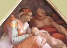 Voûtain des ancêtres du Christ: Zorobabel et sa famille. 1510. Fresque, 245 x 340 cm. Chapelle Sixtine, Vatican