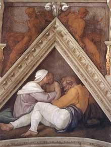 Voûtain des ancêtres du Christ: Jéchonias et sa famille. 1510. Fresque, 245 x 340 cm. Chapelle Sixtine, Vatican