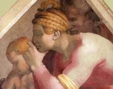 Voûtain des ancêtres du Christ: Roboam et ses parents. 1510. Fresque, 245 x 340 cm. Chapelle Sixtine, Vatican