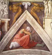 Voûtain des ancêtres du Christ: Asa et ses parents. 1510. Fresque, 245 x 340 cm. Chapelle Sixtine, Vatican