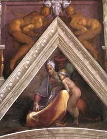 Voûtain des ancêtres du Christ: Salmon et ses parents. 1510. Fresque, 245 x 340 cm. Chapelle Sixtine, Vatican