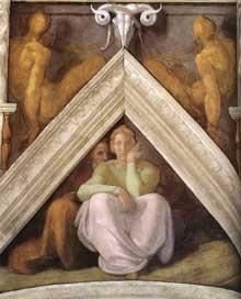 Voûtain des ancêtres du Christ: Jessé et ses parents. 1510. Fresque, 245 x 340 cm. Chapelle Sixtine, Vatican