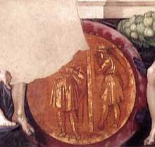 Médaillon du meurtre d'Abner. Première section de la voûte au dessus de la Sibylle de Delphes. 1511, 135 cm de diamètre. Chapelle Sixtine, Vatican