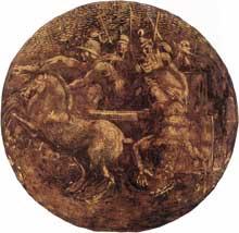 Médaillon de Bidqar jetant le corps du roi Joram dans la vigne de Naboth. Première section de la voûte au dessus du prophète Joël. 1511, 135 cm de diamètre. Chapelle Sixtine, Vatican. Chapelle Sixtine, Vatican