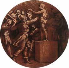 Médaillon de la destruction de la statue du dieu Baal. Troisième section de la voûte au dessus de la Sibylle d'Erythrée. 1511, 135 cm de diamètre. Chapelle Sixtine, Vatican