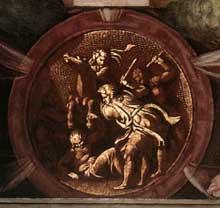 Médaillon de la mort d'Urie. Troisième section de la voûte au dessus du prophète Isaïe. 1511, 135 cm de diamètre. Chapelle Sixtine, Vatican
