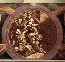 Médaillon de la destruction de la tribu d'Ahab, ou de la mort de Nicanor. Cinquième section de la voûte au dessus du prophète Ezéchiel. 1511, 135 cm de diamètre. Chapelle Sixtine, Vatican