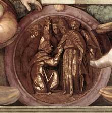 Médaillon de David devant le prophète Nathan ou d'Alexandre devant le grand prêtre de Jérusalem. Cinquième section de la voûte au dessus de la Sibylle de Cumes. 1511, 135 cm de diamètre. L'exécution du médaillon est attribuée à Aristotile da Sangallo (1475-1564). Chapelle Sixtine, Vatican