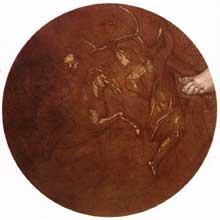 Médaillon de la mort d'Absalon. Septième section de la voûte au dessus du prophète Daniel. 1511, 135 cm de diamètre. La réalisation du médaillon est attribuée à Aristotile da Sangallo (1475-1564). Chapelle Sixtine, Vatican