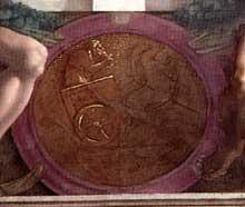 Médaillon d'Elisée sur le chariot de feu. Neuvième section de la voûte au dessus du prophète Jérémie. 1511, 135 cm de diamètre. Chapelle Sixtine, Vatican