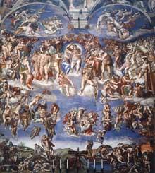 Le jugement dernier. Vue générale. 1537-1541. Fresque, 1370 x 1220 cm. Chapelle Sixtine, Vatican