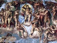 Le jugement dernier, détail: le Christ jugeant entouré des saints. 1537-1541. Fresque, 1370 x 1220 cm. Chapelle Sixtine, Vatican.