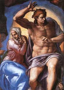 Le jugement dernier, détail: le Christ jugeant et la vierge Marie. 1537-1541. Fresque, 1370 x 1220 cm. Chapelle Sixtine, Vatican