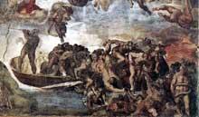 Le jugement dernier, détail: la barque de Charon. 1537-1541. Fresque, Chapelle Sixtine, Vatican