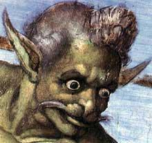 Le jugement dernier, détail: la tête de Charon. 1537-1541. Fresque, Chapelle Sixtine, Vatican