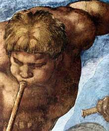 Le jugement dernier, détail: ange à la trompette. 1537-1541. Fresque, Chapelle Sixtine, Vatican