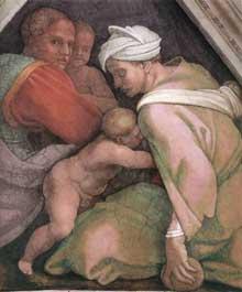 Voûtain des ancêtres du Christ: Ozias et ses parents. 1510. Fresque, 245 x 340 cm. Chapelle Sixtine, Vatican