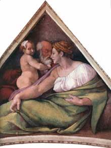 Voûtain des ancêtres du Christ: Ezéchias et ses parents. 1510. Fresque, 245 x 340 cm. Chapelle Sixtine, Vatican